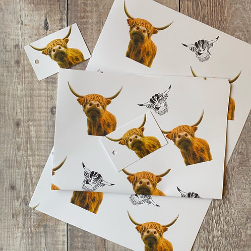 Highland Cow Gift Wrap and tag