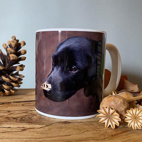 Black Labrador puppy mug