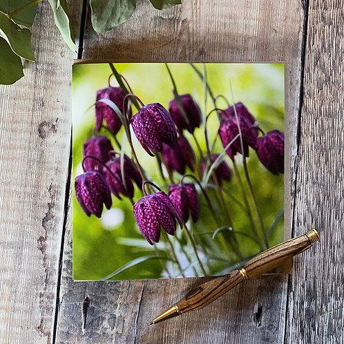 Snakes head Fritillary flower Greeting Card