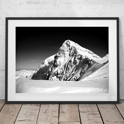 Jungfrau Mountains, Switzerland Black and White Print