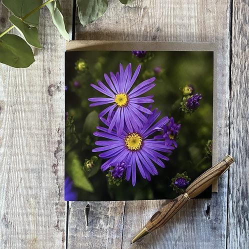 Rich Purple flowers greeting card