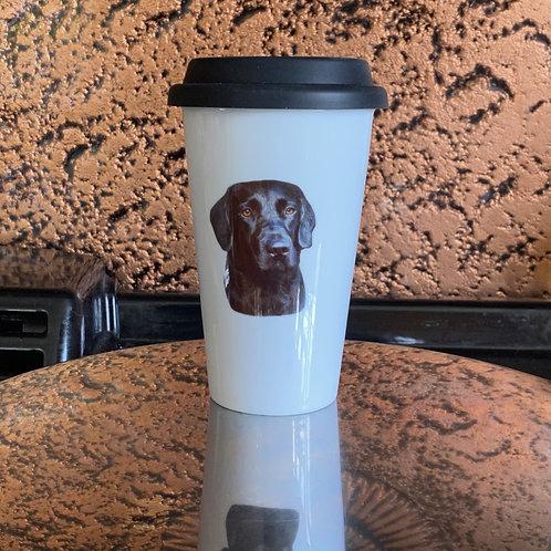 Black Lab Ceramic Double walled Travel Mug