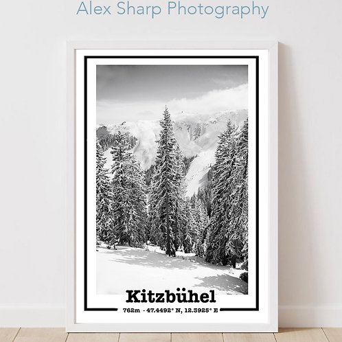 Kitzbuhel Snow Scene black and white print