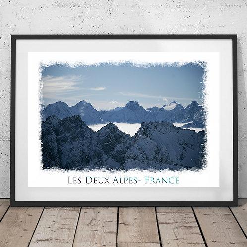 Les Deux Alpes France Print - Mountain peaks