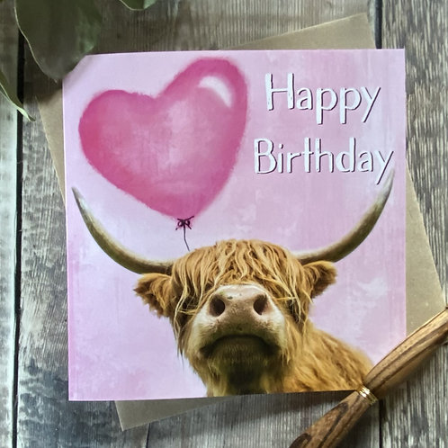 Kids, fun Happy Birthday Card with balloon and Highland Cow