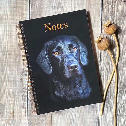 Black Labrador A5 Notebook with plain pages