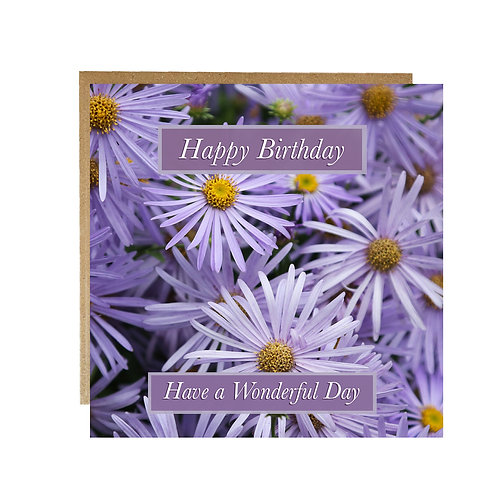 Purple Flowers Happy Birthday Card