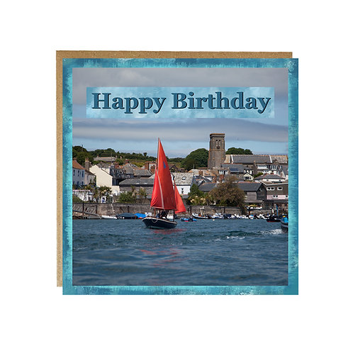 Happy Birthday card with Salcombe view on the front