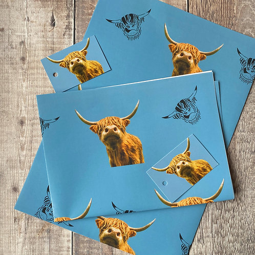 Highland Cow Gift Wrap and tag set - blue background