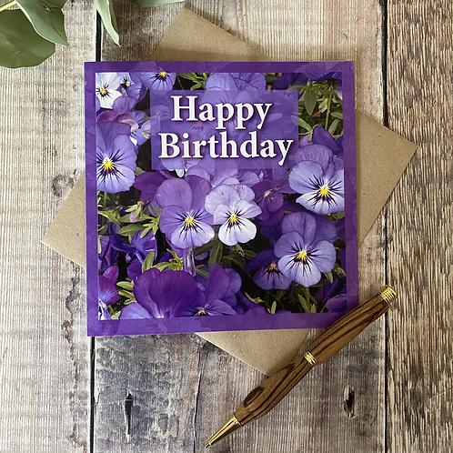 Pansy Flower Happy Birthday card