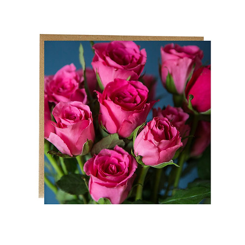 Bunch of pink roses greeting card