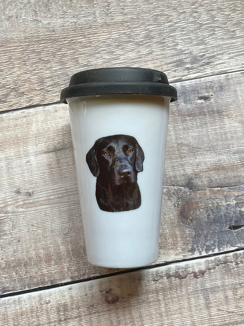Black Lab Ceramic Double walled Travel Mug