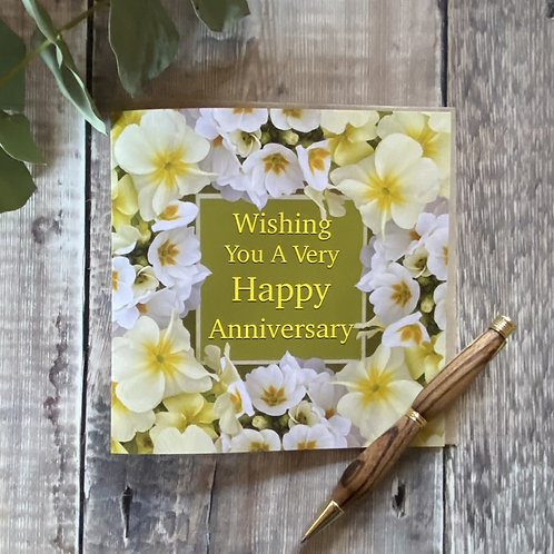 Happy Anniversary card with flowers on