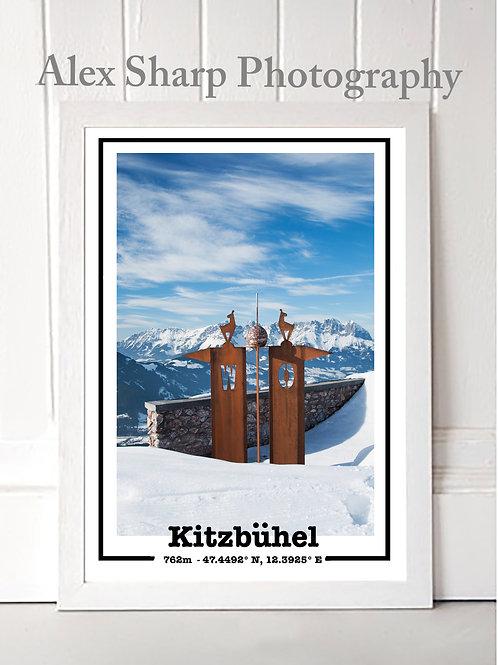 Kitzbuhel ski Print with Wilder Kaiser in the background