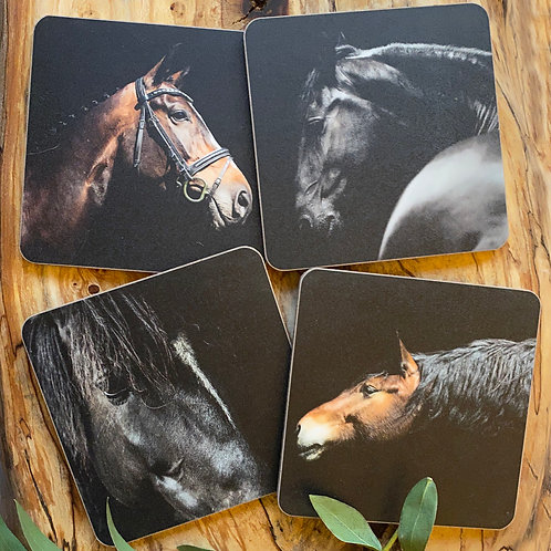 Set of Four Horse drinks coasters