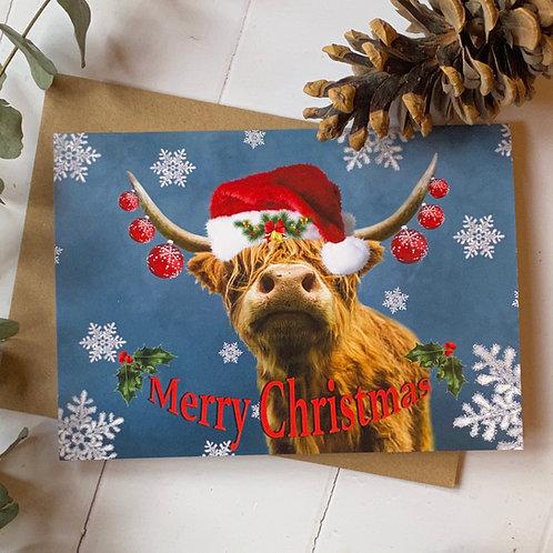 Highland Cow Merry Christmas card