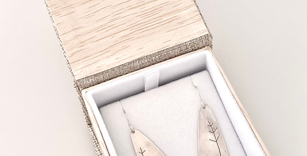Jill Robertson Silver Long Tear Drop Tree Earrings 5994
