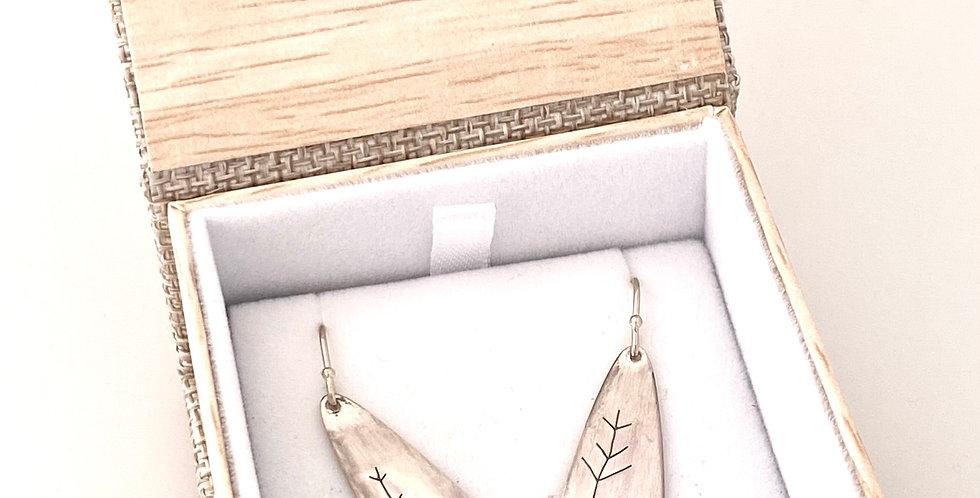 Jill Robertson Silver Medium Tear Drop Tree 5995 Earrings 5994
