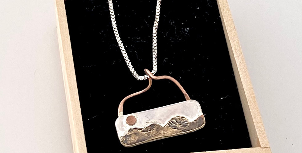 Jill Robertson Silver Pendant Mountain Rectangle 5989