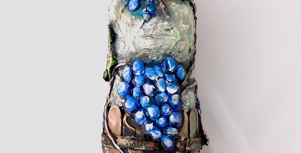 Rebecca Amburgey Hand Painted Wine Bottle