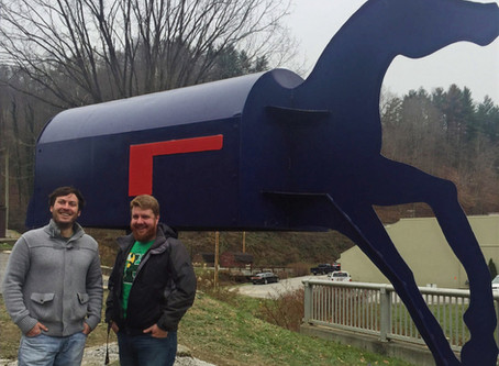 Public Artwork honoring local mailman installed in Hindman, KY