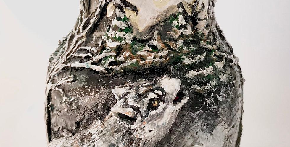 Rebecca Amburgey Hand Painted Wolf Vase