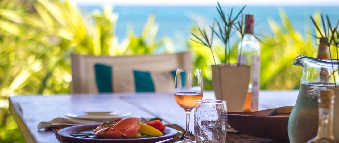 Fresh crab lunch at Shwari Watamu overlooking the Indian Ocean