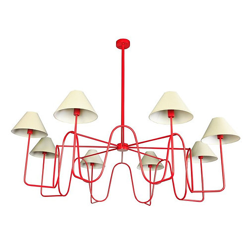 Monumental Edition Modern Custom 8-shade Chandelier in the Style of Jean Royere
