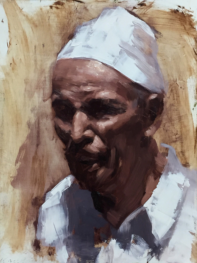 Commission Portrait Artist Talks About Portraits and Morocco | Moroccan man painting