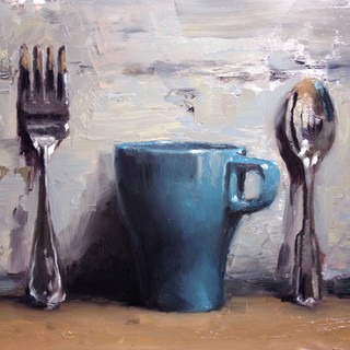 Blue Cup with Utensils