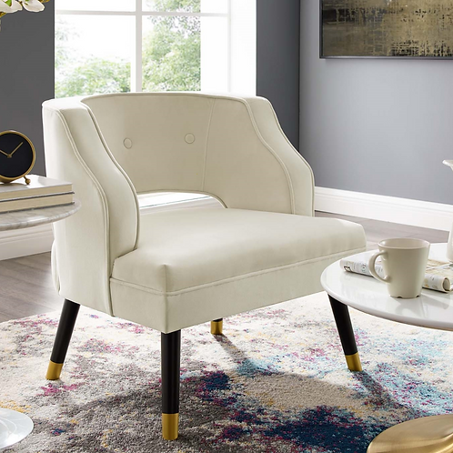 Button Tufted Open Back Performance Velvet Armchair in Ivory
