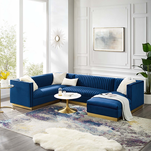 3 Piece Performance Velvet Sectional Sofa Set in Navy