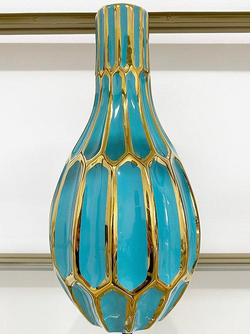 Turquoise and Gold Ceramic Vase