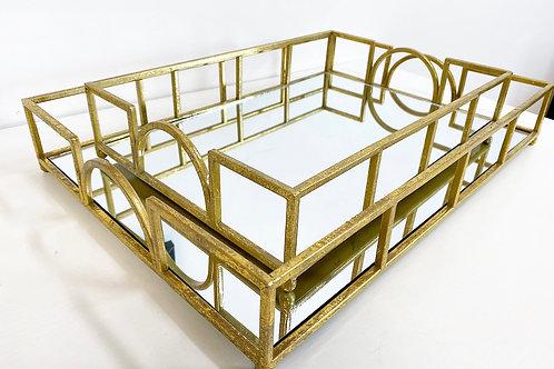 Gold Leaf Mirror Tray Set