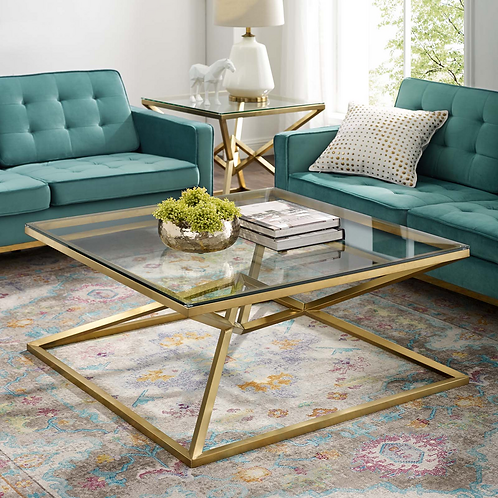 Brushed Gold Metal Stainless Steel Coffee Table in Gold