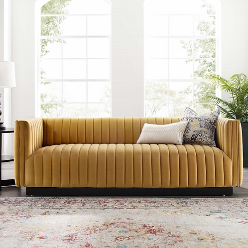 Cognac Channel Tufted Velvet Sofa