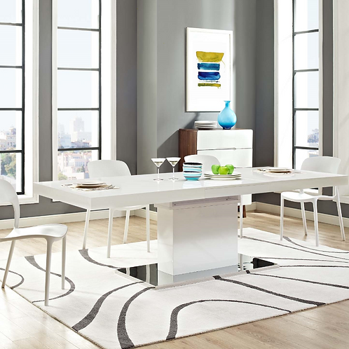 Expandable Dining Table in White Silver