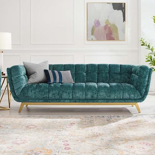 Crushed Velvet Sofa in Emerald