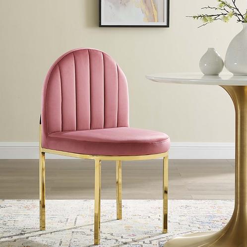 Tufted Performance Velvet Dining Side Chair in Gold Dusty Rose