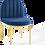 Thumbnail: Tufted Performance Velvet Dining Side Chair in Gold Navy