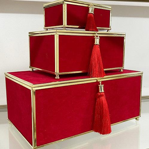 Velveteen Tassel Box Set in Red