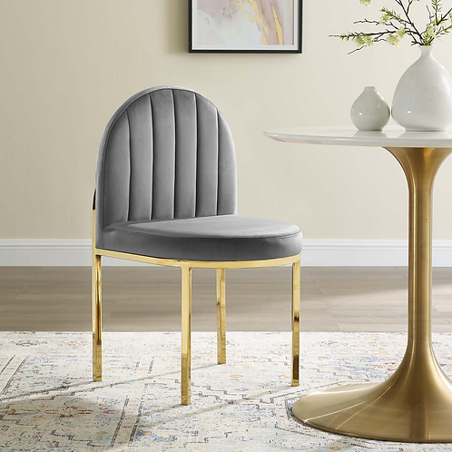 Tufted Upholstered Side Chair in Gray