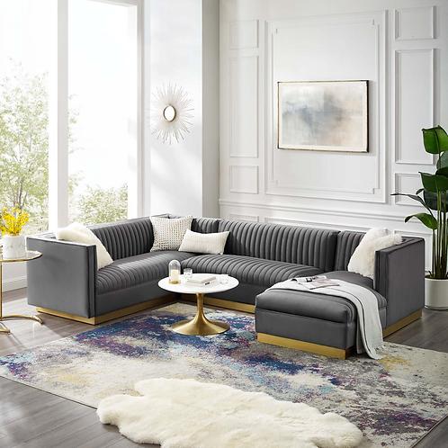 3 Piece Performance Velvet Sectional Sofa Set in Gray