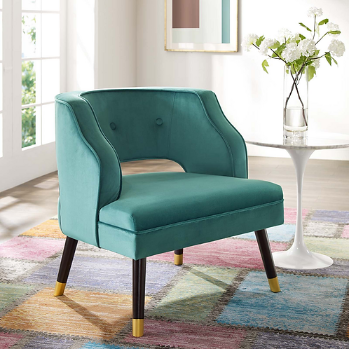 Button Tufted Open Back Performance Velvet Armchair in Teal