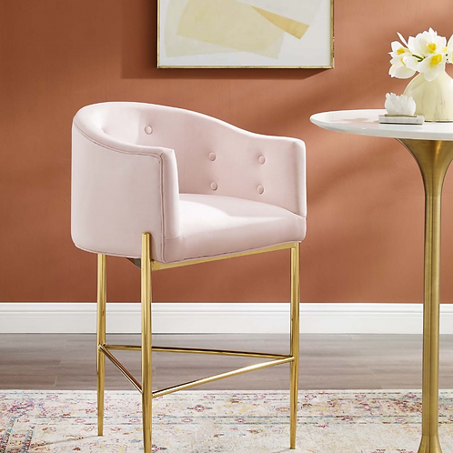 Tufted Performance Velvet Bar Stool in Soft Pink