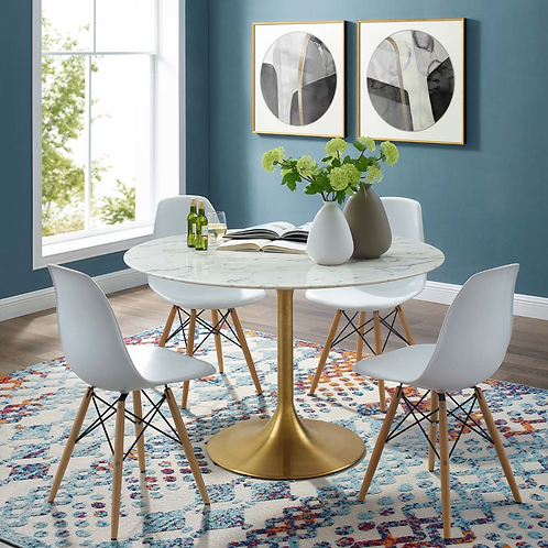 "47"" Round Marble Dining Table in Gold White"