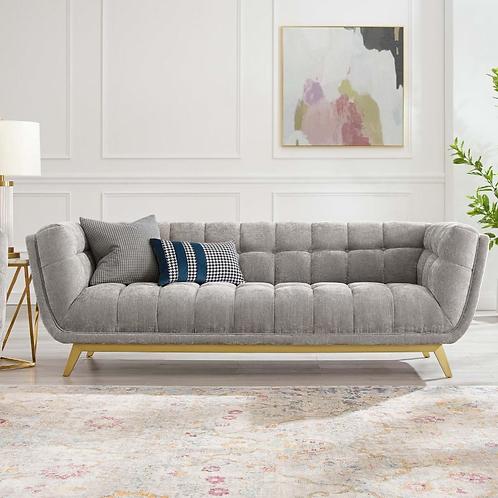 Crushed Velvet Sofa in Gray