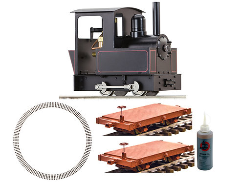 AC77-101-PKG2 Dora, 2 Short Flat Cars, 4ft Dia Curve Track, Steam Oil