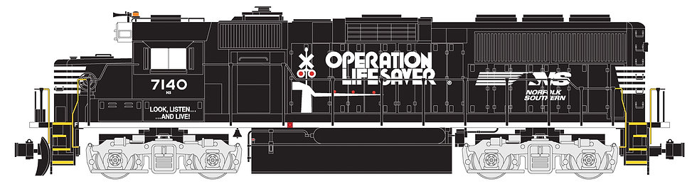 "G801-07S GP60 Norfolk Southern""Operation Lifesaver"",Black/White, #7140,DCC&Sound"