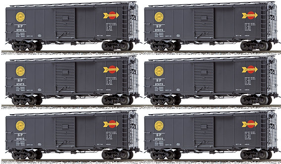 AM32-566 AAR Box Car - Southern Pacific (Overnight Service), Black, 6-car set